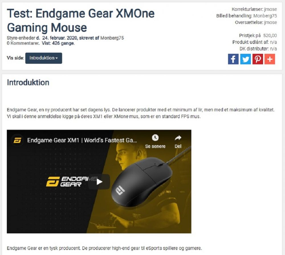 Endgame Gear XMOne Mouse